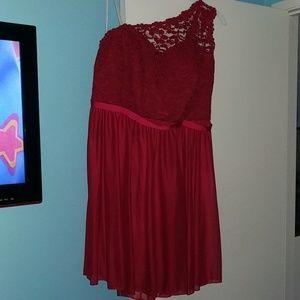 Apple red bridesmaid dress